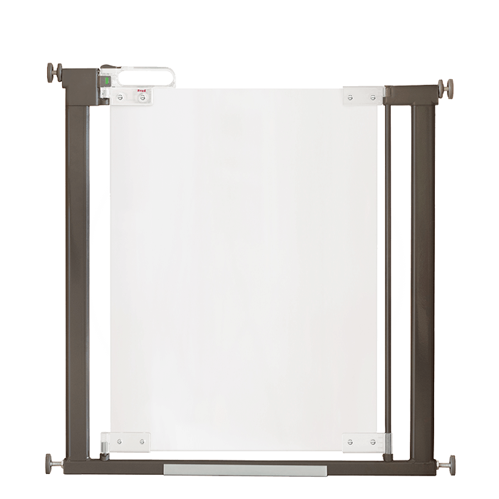 Fred Pressure Fit Clear-View stairgate / Clear Acrylic Panel / Dark Grey Fittings