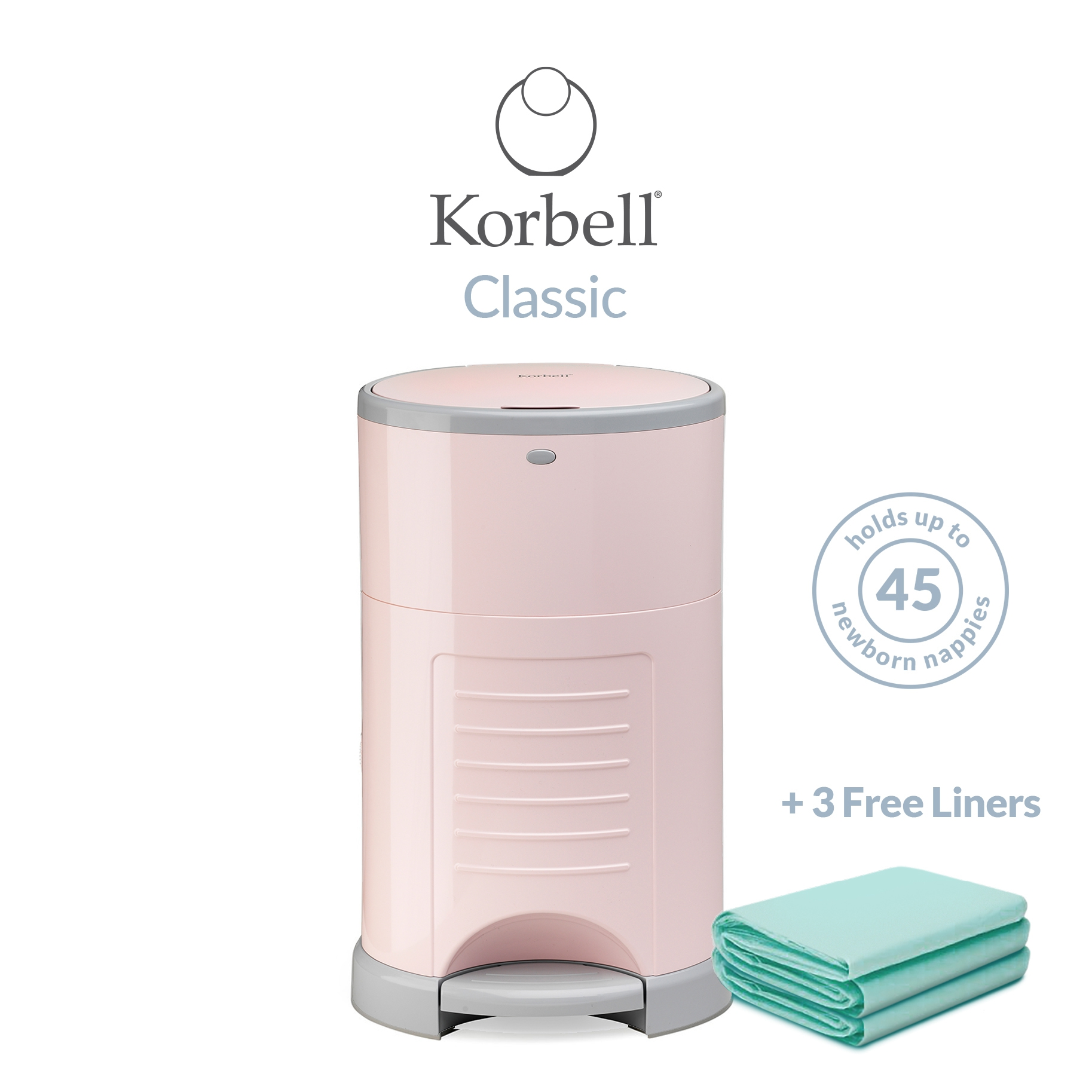 Korbell Classic 16L Bin Bundle (with Free Liner) Pink