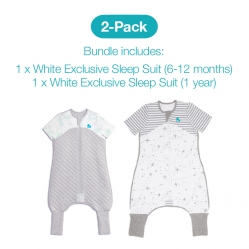 Love To Dream 2 Pack Sleep Suit Starter Pack - 1 x 6-12 months and 1 x 1year