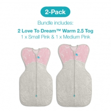 Love To Dream 2 Pack Warm 2.5 Tog Starter Pack (1 X Small And 1 X Medium PINK)