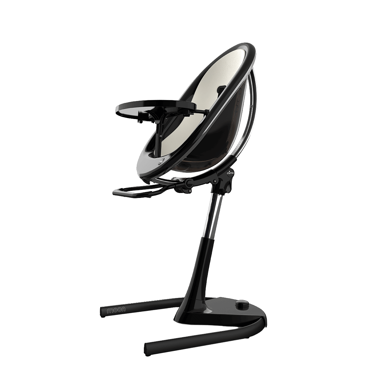 Mima Moon Highchair Black Frame With Silver Seat Pad For Website