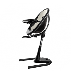 Mima Moon Highchair - Black Frame with Snow White Seat Pad