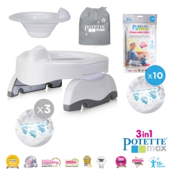 Potette Max Bundle Pack - Potette Max with Hard Liner and 3 X Liners in White