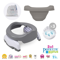 Potette Plus Value Pack - Potette Plus with Resuable Liner and 3 X Liners in White/Grey