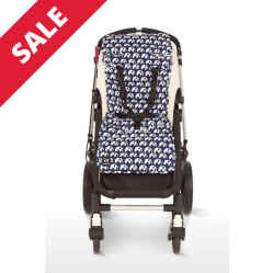 Outlook Pram Liner Cotton / Navy Elephant - Was £32.99 now only £26